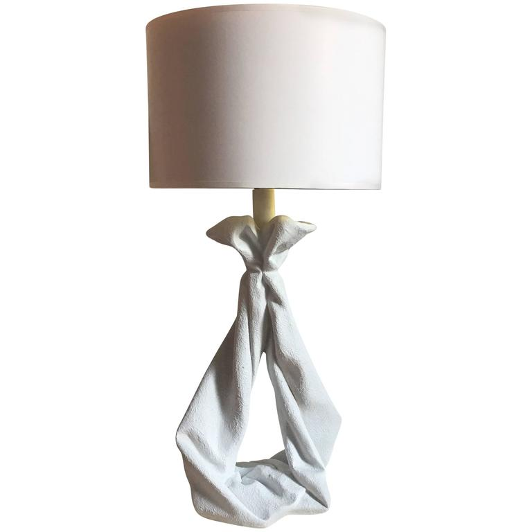 Sculptural Plaster Draped Table Lamp