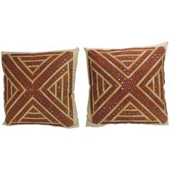 Pair of Vintage Embroidery Indian Decorative Pillows