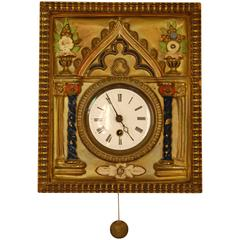 Brass Repousse and Enamel Wag-on-wall Clock with Enameled Dial, circa 1865