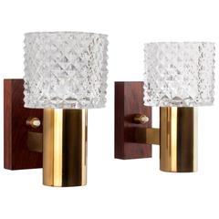 Crystal Glass and Rosewood Pair of Wall Sconces, 1960s Danish Lighting Design