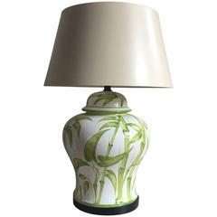 Italian Ceramic Bamboo Table Lamp
