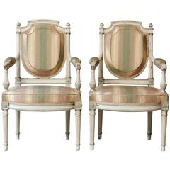 Pair of 19th Century French Louis XVI Style Painted Fauteuils