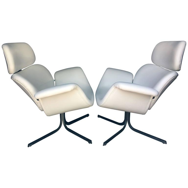 Pair of Early Pierre Paulin Big Tulip 'F545', Chairs for Artifort