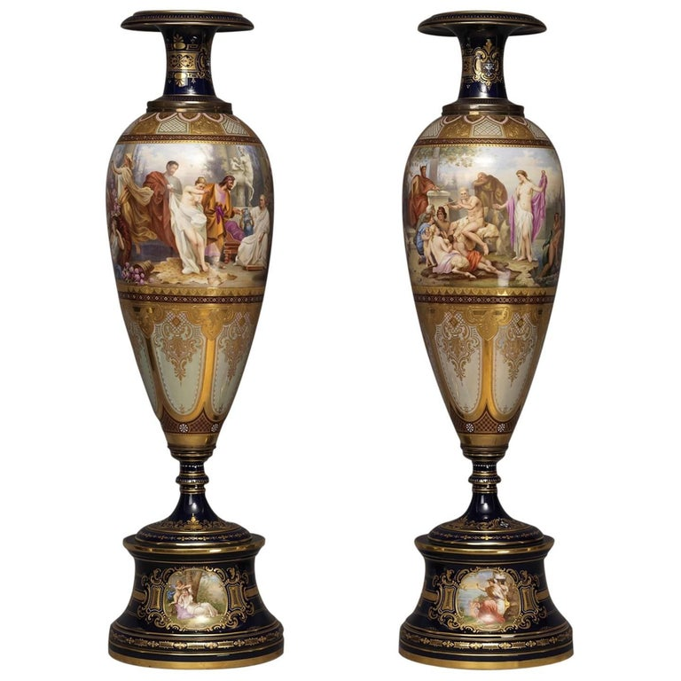Pair Of Vienna Porcelain Vases Austrian Circa 1890 For Sale At 1stdibs