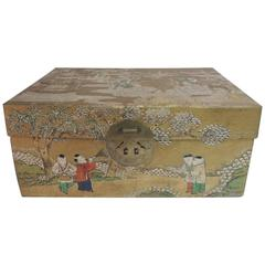 Asian Leather Painted Sewing Box with Brass Handles