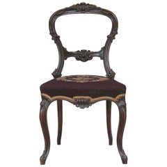 Mid-Victorian Rocco Revival Rosewood Side Chair with Needlepoint Upholstery
