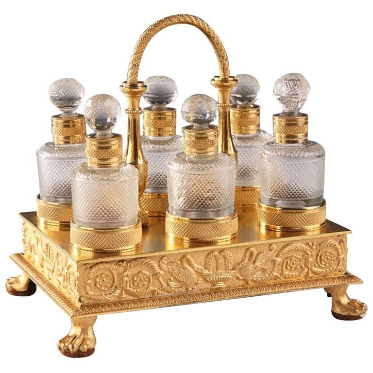 19th Century Charles X Cut-Crystal and Gilt Bronze Perfume Cellaret