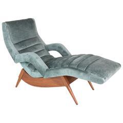 Mid-Century Velvet Lounge Chair, USA, 1950's