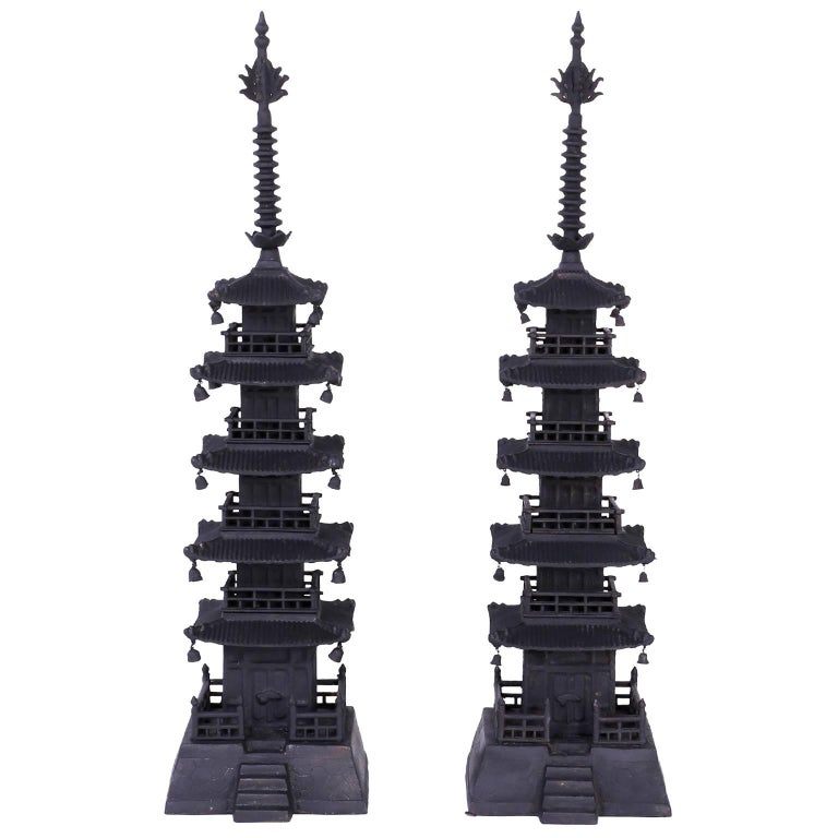 Pair of Vintage Cast Iron Pagodas