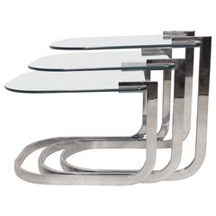Design Institute of America 'Dia' Chrome and Glass Tables