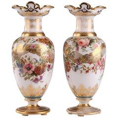 19th Century Restauration White Enameled Opaline Vases