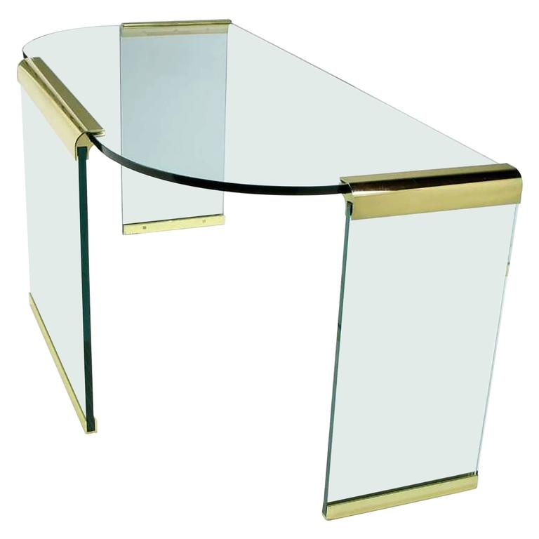 20th Century Brass and Glass Desk by Leon Rosen for Pace Collections
