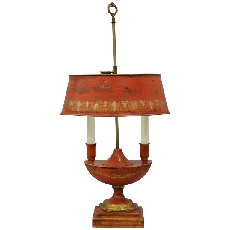 Antique French Empire Style Orange Bouillotte Desk Table Lamp Tole