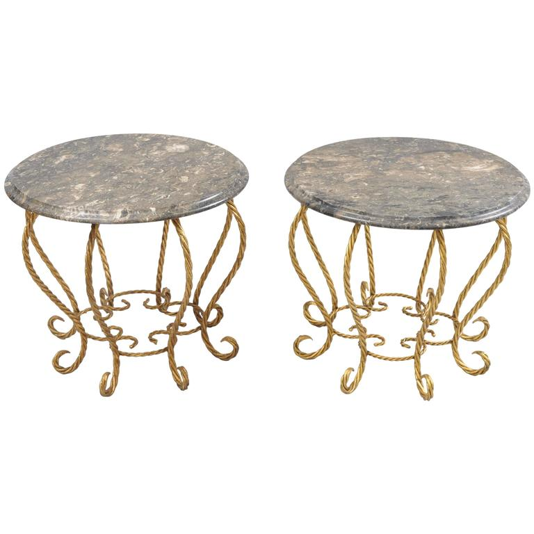 "Pair of ""Spider"" Italian Hollywood Regency Gold Gilt Rope Marble-Top Side Tables"