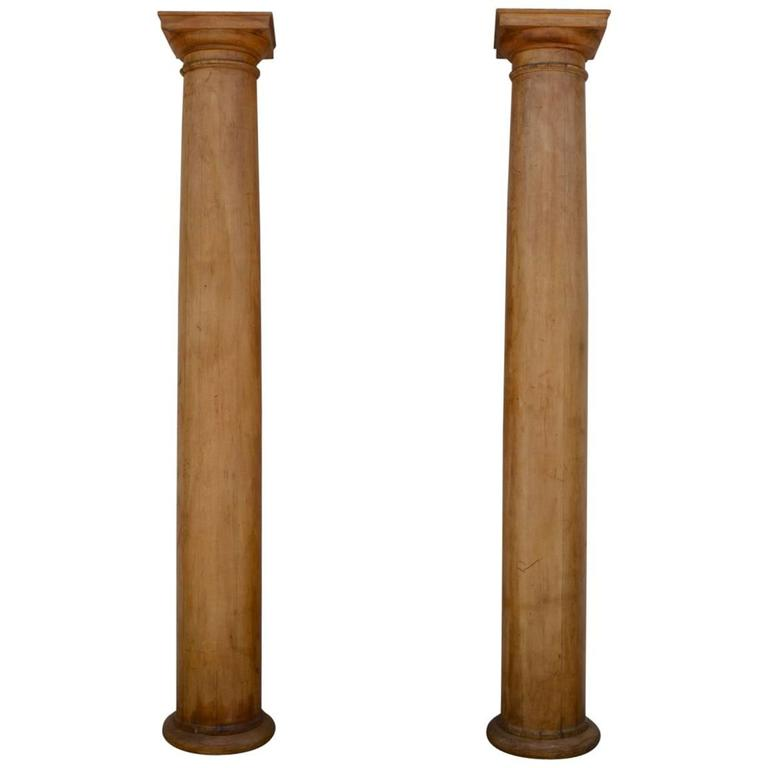 Pair of Elegant Tall Fluted Decorative Pine Columns 1