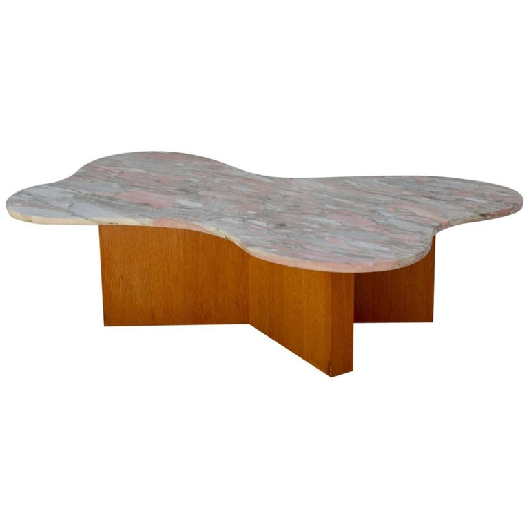 Flowing Free-Form Marble 1970s Coffee Table