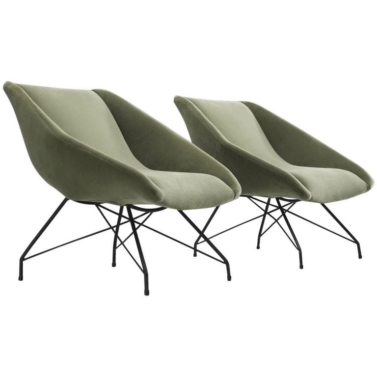 Carlo Hauner Pair of Lounge Chairs, 1960s For Sale