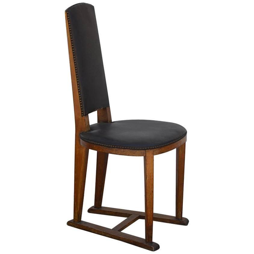 Slender Arts & Crafts Oak Side Chair