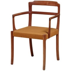 Side Chair with Curved Armrest and Outward Curving Legs, Denmark, 1950s