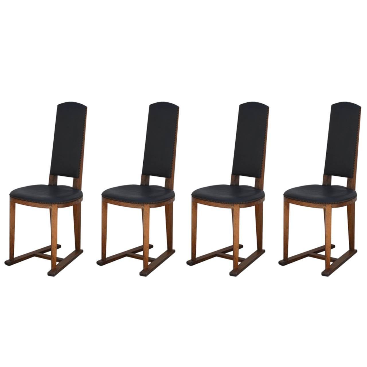 Set of Four Slender Oak Arts & Crafts Sledge Chairs