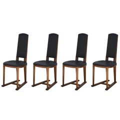 Set of Four Slender Oak Arts & Crafts Sledge Chairs