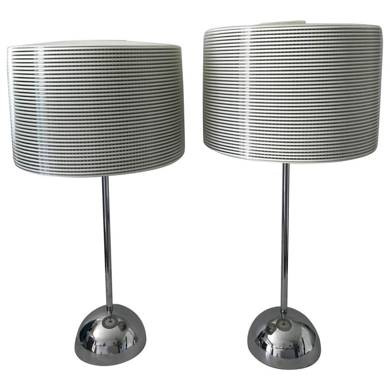 Large Swedish Bergboms Very Rare Pair of Chromed Steel and Plastic Table Lamps
