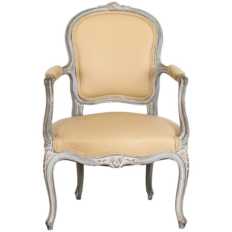 Single French Louis XV Style Painted Beech Wood Fauteuil Armchair, 1920s  For Sale