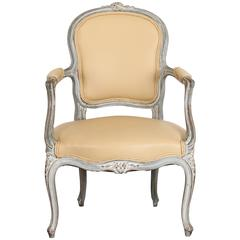 Single French Louis XV Style Painted Beech Wood Fauteuil Armchair, 1920s