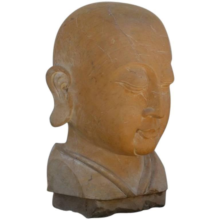 Large Carved Marble Head of the Buddha 1