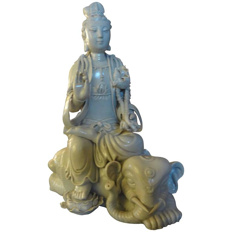 Chinese Blanc de Chine Guanyin Seated on an Elephant