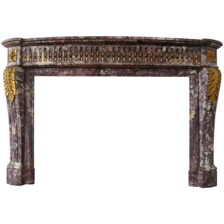Antique Louis XVI Style Breche Violette Marble Fireplace Mantle For Sale