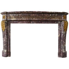 Antique Louis XVI Style Breche Violette Marble Fireplace Mantle