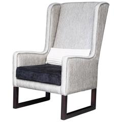Matteo High Back Wing Chair in Kravet Fabric from Costantini