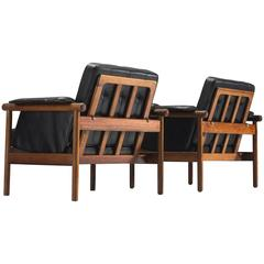 Illum Wikkelsø Pair of Original Black Leather Lounge Chairs