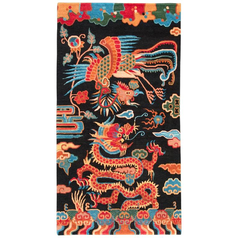 Black And Red Chinese Dragon And Phoenix Wool Rug At 1stdibs