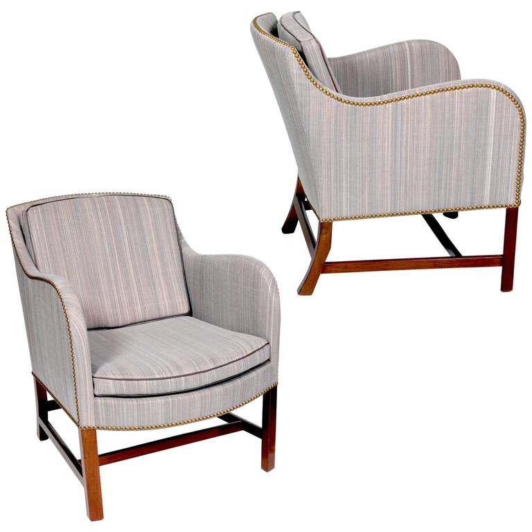 "Pair of ""Mix"" Armchairs in Mahogany by Kaare Klint with Edvard Kindt-Larsen"