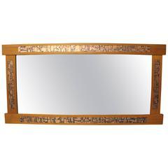 Pedersen and Hansen Danish Modern Teak and Copper Inlay Mirror
