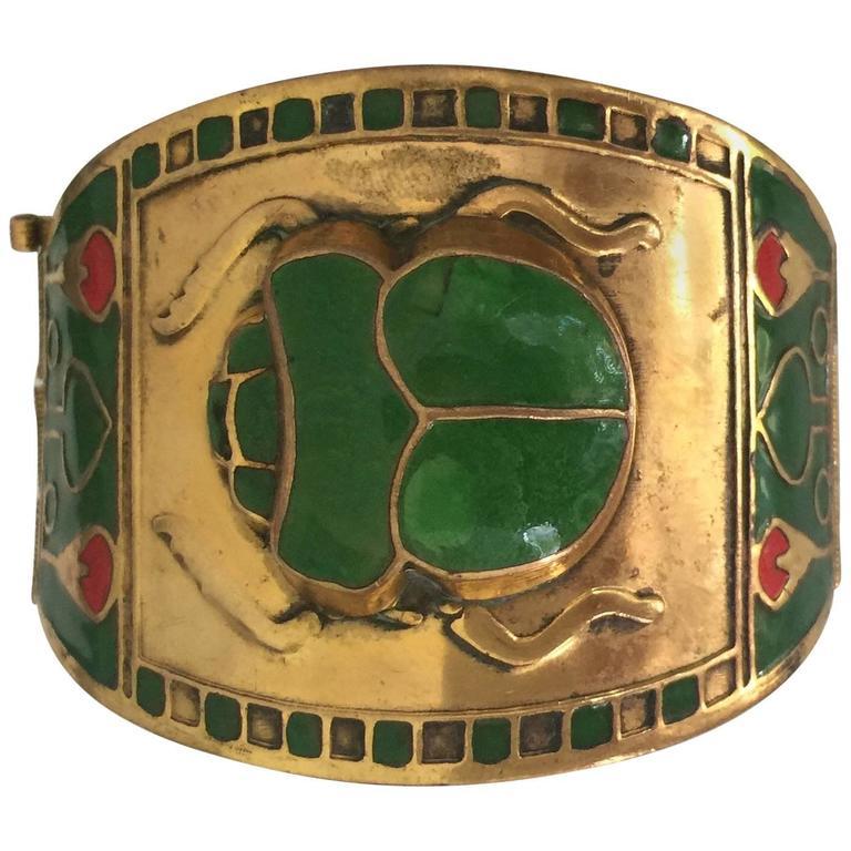Egyptian Revival Brass or Enamel Scarab Cuff Bracelet For Sale