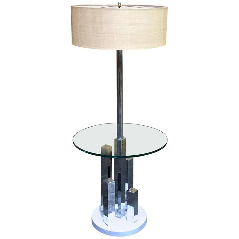 Mid-Century Cityscape Style Standing Lamp Table