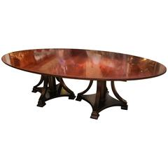 Large Oval Dining Table, Double Pedestal, Mid-Century, Mahogany with Large Leaf