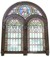 Religious Stained Glass Window, Antique, Depicting a Disciple