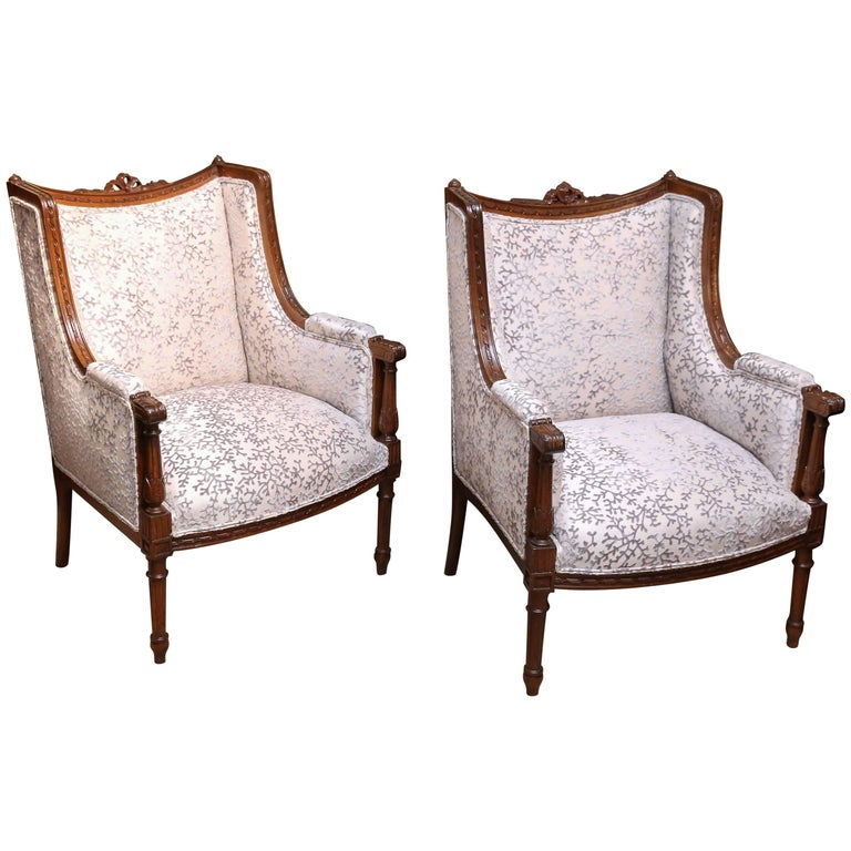 Pair of Louis XVI Style Bergere Chairs, Late 19th Century, Walnut