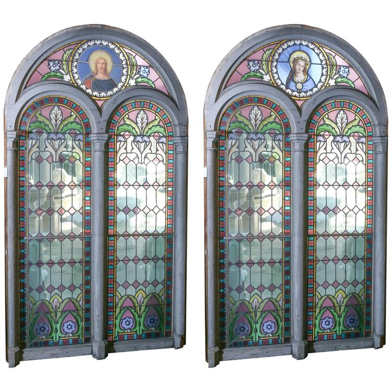 Pair Of Simple Church Lights For Sale: Pair Of Large Religious Stained Glass Windows, French For