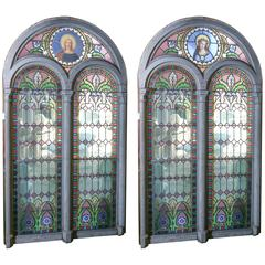 Pair of Large Religious Stained Glass Windows, French