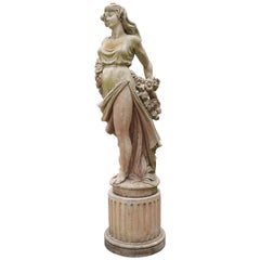 Garden Statue of a Beautiful Woman in a Cast Material