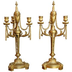 French Bronze Doré Candelabrum, 19Th Century with Three Arms