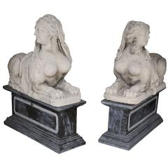 Pair of Antique Carved Limestone Sphinx on Marble Bases