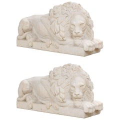 Pair of Large and Impressive Carved Marble Lion Garden Statues on Pedestals
