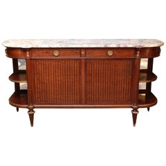 Louis XVI-Style Mahogany and Marble-Top Buffet or Server, Early 29th Century