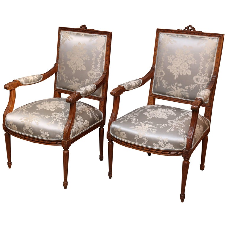 Pair of French Louis XVI Style Fauteuils or Armchairs, Late 19th Century
